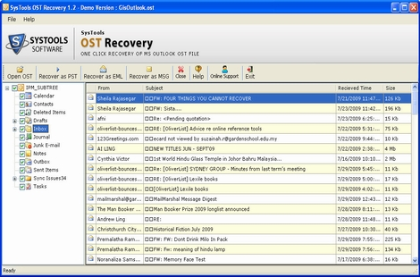 Exchange OST to PST screenshot